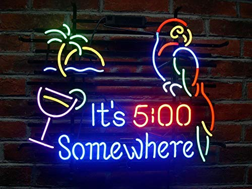 19X15 Inches IT5 Somewhere Parrot Real Glass Neon Light Sign Beer Bar Pub Store Club Garage Home Party Lights Signs
