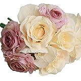 Xinantime Flores Artificiales,Xinan Flores de Rosa Decoración para Hogar Boda (Púrpura)