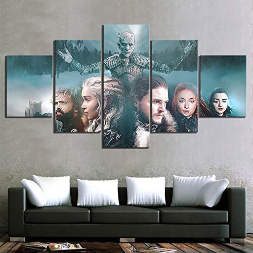 XLST HD Leinwand Gemälde 5 Stück Fantasie Kunst Gemälde Game of Thrones Film Poster EIN Lied aus EIS und Feuer Poster für die Wand Dekor,A,40X60X240X80X240X100X1