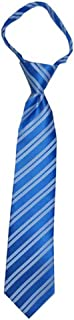 Children's Tie for ages 4-9 years old Baby Blue and White Stripes Boys Zipper Tie