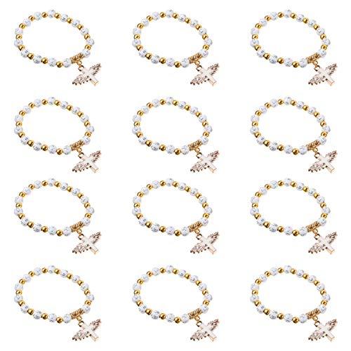 PRETYZOOM 12Pcs Ange Aile Croix Bracelet Perles Bracelets Baptême Bracelet de Perles Cadeau de Douche de Bébé pour Première Communion Baptême Bautizo Recuerdos Église Événement (Blanc)