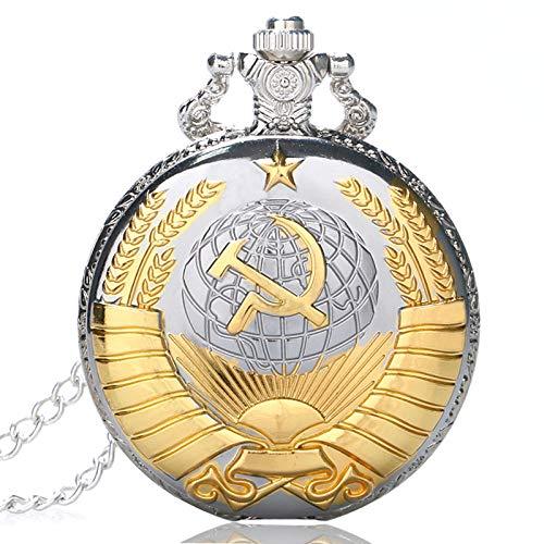 LLXXYY Hombre Mujer Reloj De Bolsillo Vendimia Collar Propósito General, Retro Martillo Estilo Soviético De La Hoz Insignias De Oro De Cuarzo Reloj De Bolsillo Rusia Emblema Comunismo UNIS