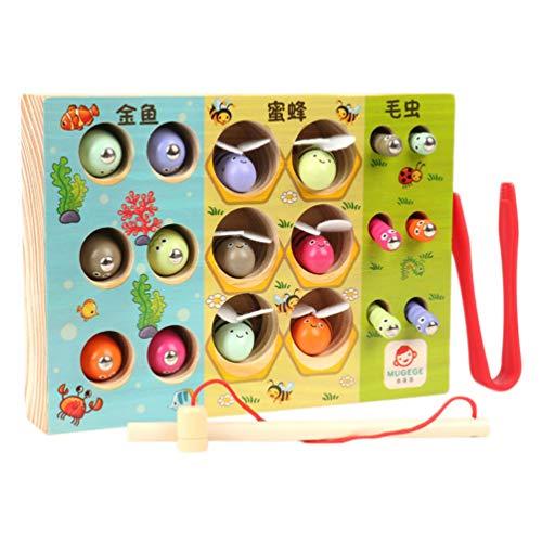 NUOBESTY 3-in-1 Magnetische Angelspiel Fangen Insekten Spielzeug Bienen Magnetspiel Fisch Angelspielzeug Farben Formen Sortierspiel für Baby Kinder Montessori Lernspielzeug