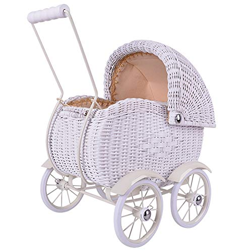 BTTNW BP Andador Sala de Empuje Rattan Vintage Baby Walker Balance bebé de Juguete Accesorios de Fotos de los niños decoración del Coche Bebé Activo Walker (Color : Blanco, tamaño : 53x53x34cm)