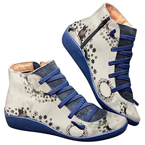 Luckycat Zapatos de tacón bajo con borlas y Punta Cuadrada de Cuero para Mujer Botas Vaqueras de Tobillo Estilo Occidental 🔥