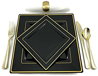 Premium Square Black and Gold Rim Disposable Plastic Plates For Wedding and Party Pack of 20 – 10 (9.5 inch) Dinner Plates and 10 (6.5 inch) Cake and Salad/Dessert plates