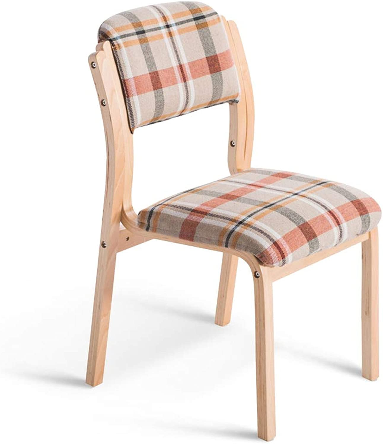 LLYU Solid Wood Casual Dining Chair, Simple Fabric Back Furniture Study Bedroom Living Room Reception Computer Chair (color   Wood color)
