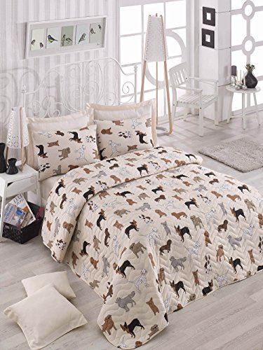DecoMood Animals Dogs Bedding, Full/Queen Size Bedspread/Coverlet Set, Dogs Themed Girls Boys Bedding, 3 PCS,