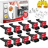 Cabinet Locks Child Safety Latches - 10 Pack Adhesive Child Proof Cabinet Locks - Baby Safety Cabinet Locks - Child Locks for Cabinets and Drawers - Corner & Door Guards, Socket Covers - E-Book Story