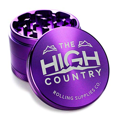 """HIGH COUNTRY GRINDERS Best Herb Grinder 2.5"""" Large 4-Piece Anodized Aluminum Grinder with Pollen Catcher - Purple"""