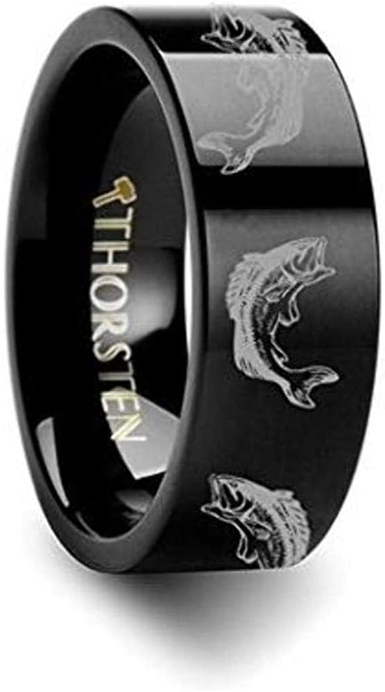 BASS FISH Jumping Lake Stream Sport Fish Print Pattern Inside Engraved Flat Black Tungsten Ring 8mm Wide Wedding Band with Custom Inside Engraved Personalized