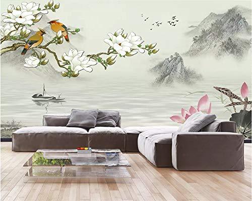Behang fotobehang 3D custom fotobehang Chinese landschapsschilderij magnolia bloesem en vogel afbeelding wooncultuur voor woonkamer sofa tv achtergrond slaapkamer wand decoratie (-Bh0538) 280cm(W)×180cm(H)