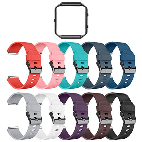 LEEFOX Compatible Fitbit Blaze Bands with Frame, Sport Silicone Replacement Strap for Fitbit Blaze Smart Fitness Watch Fitbit Blaze Accessory Wristbands Small, Classic 10Pack w/Black Frame Men Women
