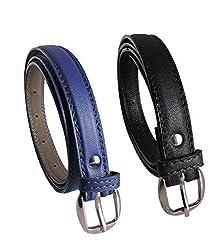 DN Enterprises Latest Design Girls PU Leather Belt/Party Wear Belt For Women/Girl…Pack Of 2 (Blue & Black)