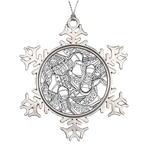 VINMEA Ideeën Voor het verfraaien van kerstbomen Zwart wit urban retro sneakers vector patroon Sneeuwvlok Ornamenten Te koop