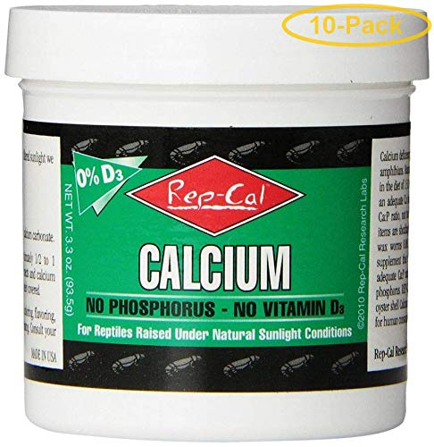 Rep-Cal Phosphorus Free Calcium Without Vitamin D3 - Ultrafine Powder 3.3 oz - Pack of 10