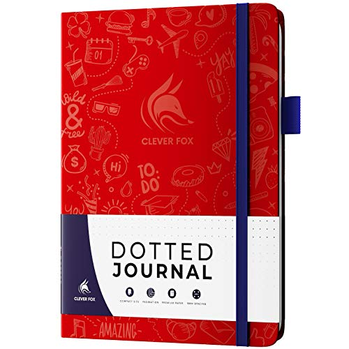 Clever Fox Dotted Journal 2.0 - Compact Planning and Sketching Dot Grid Notebook 120 GSM Thick, No-Bleed Paper - Planner with Pen Loop, Pocket, Ribbons, Stickers - A5 - Wine Red