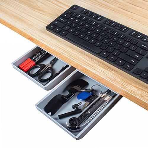simpletome Schublade unter Schreibtisch Selbstklebend Organizer Box zur Aufbewahrung klein Aufbewahrungsbox kleben versteckt unter Tisch Stiftebox Ablage für Büro Schule Stifte (Grau)