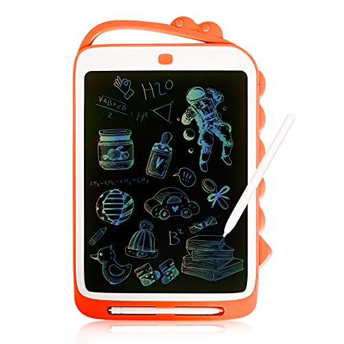 BAQSOO Tableta de Escritura LCD Colorida, Tablero de Dibujo de Dinosaurio de 12 Pulgadas con Botón de Borrado Bloqueable, Tableta Gráfica para Niños Y Niñas