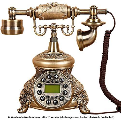 JNYTD klassieke vintage telefoon/antieke telefoon, hars + metalen lichaam functie knop wijzerplaat en metalen mechanische bel retro stijl huis Landline