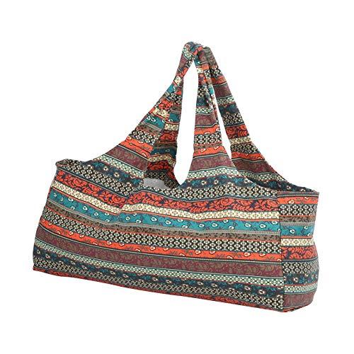 Bolsa de gimnasio de yoga, bolsa de transporte de esterilla de yoga, bolsa de equipaje de paquete de yoga de estilo étnico de gran tamaño transpirable, se adapta a la mayoría de las esteras de tamaño