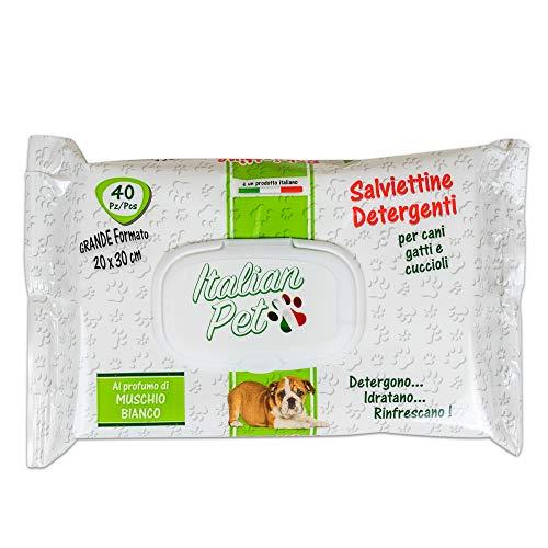 Italian Pet Salviette Detergenti per Animali Domestici - Salviettine Detergenti Umidificate al Muschio Bianco per Pulire Zampe e Pelo di Cani e Gatti -Confezione 40 Salviette Monouso, 30x20 cm