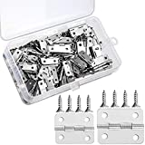 60 Pieces Mini Hinges Retro Door Hinges and 300 Pieces 7 mm Mini Hinge Screws with Storage Box, 2 Sizes (Silver)
