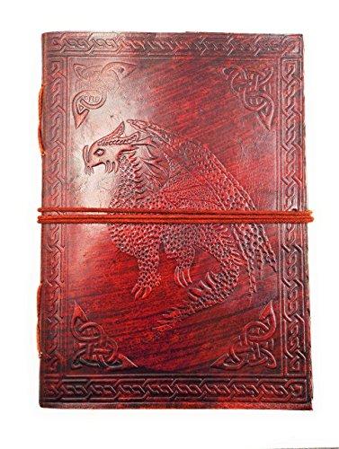 Chic & Zen - diario, agenda, blocchetto per appunti, Vera Pelle, Vintage, drago medievale, 13 cm * 17 cm, carta premium