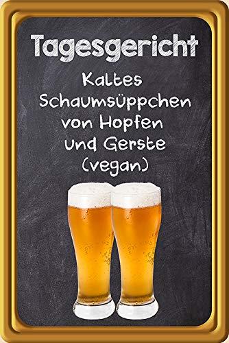 FS spreuk dagrecht koud schuimzoepje (Vegan) bier metalen bord 20 x 30 cm