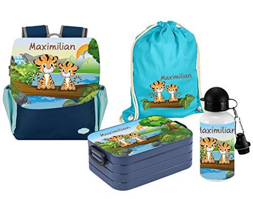 Mein Zwergenland | Personalisiertes Kindergartenrucksack-Set | Happy Knirps Next Print | Kinderrucksack, Lunchbox Maxi, Trinkflasche, Turnbeutel mit Name | Blau | Tiger