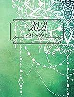 2021 Year Calendar: Notebook BOHO Style, Planner, Diaries, Journal. Beautiful 24-Month Plan & Calendar with Holidays.