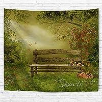 タペストリー壁タペストリー花と草のヴィンテージ木製ベンチ庭のタペストリー壁掛け寝室用リビングルーム寮60x40インチ