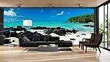 Fotomural Vinilo Pared Playa Rocosa | Fotomurales Pared | Fotomural Decorativo | Mural | Vinilo Decorativo | Varias Medidas 150 x 100 cm | Decoración comedores Salones | Motivos Paisajisticos