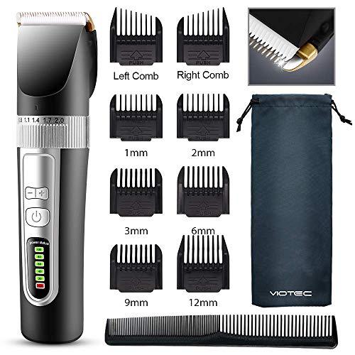 MOULEI Haarschneidemaschine, Wiederaufladbarer Kabelloser Haartrimmer Barttrimmer Elektrischer Rasierer Wasserdichtes LED-Display für Männer und Familie