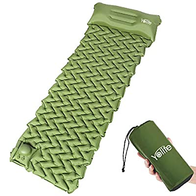 Yolife Ultralight Air Sleeping Pad - Inflatable Sleeping Mat, Ultimate for Camping, Better Stability & Support & Compact Air Mattress with Pillow for Travelling & Outdoor Activities-Army Green