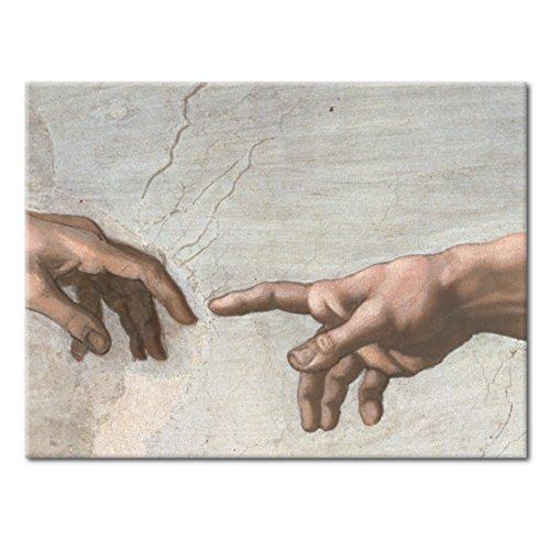 WANDKINGS Leinwandbild Die Erschaffung des Adam von Michelangelo / 80 x 60 cm/auf Keilrahmen
