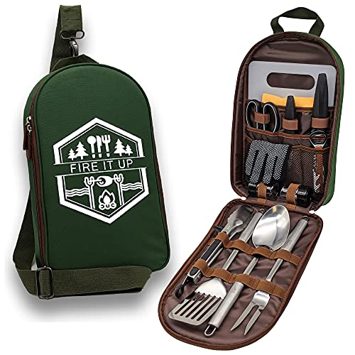 13 PC Grilling and Camping Cooking Utensils Set for The Outdoors BBQ - Stainless Steel Camp Kitchen Set Cookware Grill Tool Accessories Kit With Lightweight Stylish Crossbody Carrying Bag (Green)