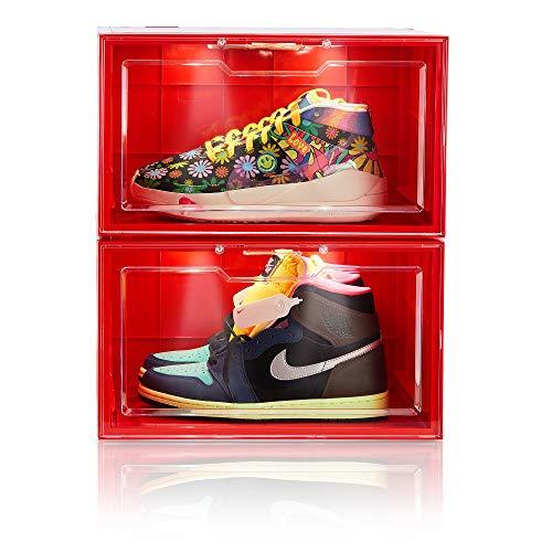 Wisboc 2 Pack Sprachsteuerung LED Sneaker Aufbewahrungsboxen Drop Side Schuhboxen Klar Kunststoff stapelbar Schuh-Organizer Vitrine für Herren Damen Rot