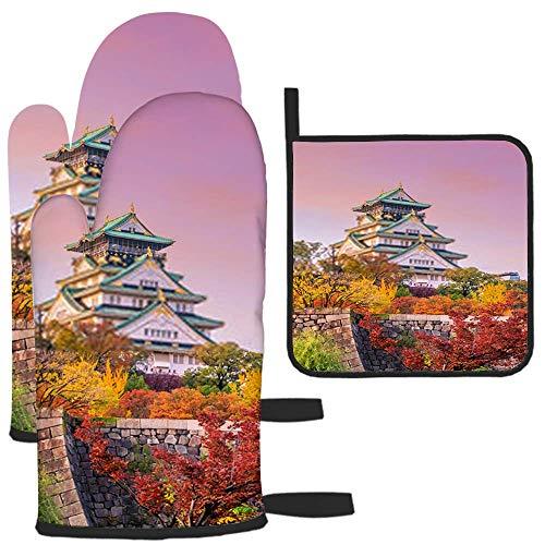 zsxaaasdf Castillo de Osaka en Osaka Japón K Guante de Horno y Soporte para ollas Traje de Dos Piezas para cocinar en la Cocina, Resistente al Calor, Asar, máquina de Barbacoa