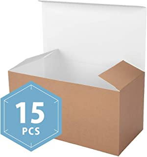 PACKHOME 15 Kraft Gift Boxes with Lids 9x4.5x4.5 Inches Paper Gift Box for Wedding,Gift,Party,Recycled Paper