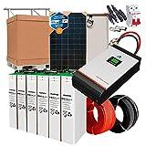 Kit Solar 24V 1.000W / 5.000W Día + 4 Paneles + 12 Baterías TOPzS 458Ah + Inversor Multifunción 5kva con Regulador MPPT 80A