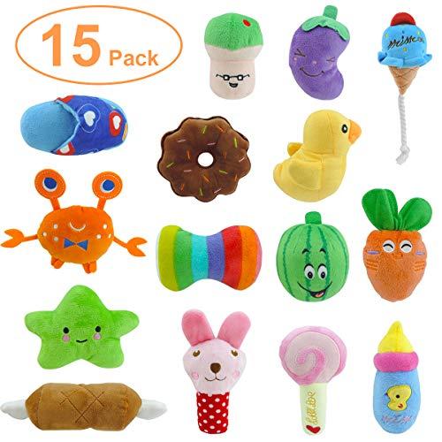 15er Pack Hund Quietschspielzeug, Welpenspielzeug, Welpen Zahnen Spielzeug, Haustier Hund Plüsch Spielzeug, Weiches Kauspielzeug-Set für Welpe, kleine, Mittelgroße Hunde