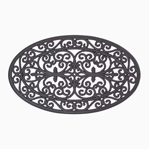 Homescapes Schwarze Türmatte für den Außenbereich, Fußabstreifer aus Kautschuk für draußen, Schmutzfangmatte im Eisen-Look, Anti-Rutsch-Matte, oval