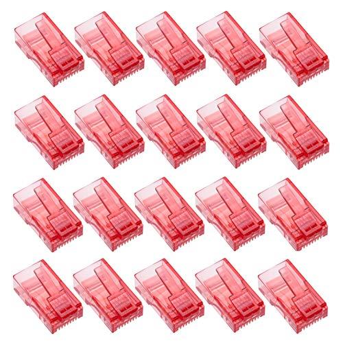 RJ45 Conector por Keple | Conector Ethernet de Modulare Enchufe de Plástico para Cable de Red | RJ45 Clavijas para Cat6 Cat6e Cat5 Cat5e Cable | Rojo, 20 Unidades