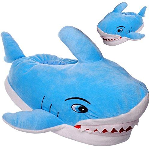 alles-meine.de GmbH Hausschuhe / Pantoffel -  Hai Fisch mit Zähnen  - Größe Gr. 39 / 40 __ schön warm __ Plüschhausschuh / Tier - Tiere - für Kinder & Erwachsene - ABS Sohle ru..