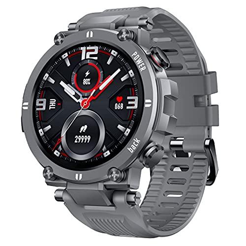 CatShin Smartwatch Hombre Mujer Reloje Inteligente con Pulsómetro,  Presión Arterial,  Podómetro Pulsera Actividad Impermeable IP68 Relojs Inteligentes para Android iOS y Huawei iPhone Smartphone Gris