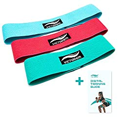 VICTOREM Booty Hip Band Theraband Set - 3X fitness band for leg and butt training with workout guide and practical carrying bag.