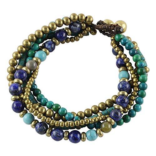 NOVICA Lapis Lazuli Brass Beaded Torsade Bracelet