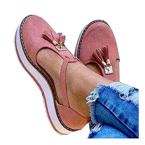Dorical Damen Schuhe Damen Flach Wildleder Elegant Schuhe Frauen Vintage Casual Mokassins Loafer Quaste Slip-On Flache Müßiggänger Schuhe Frauen Plattform Flache Freizeitschuhe