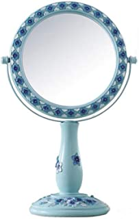 HD Double-Sided Makeup Mirror Desktop Princess Mirror Beauty Vanity Mirror Mirror disc can be rotated 360° Front 1:1 HD Reverse 3 Times Magnification Effect Easy to Clean and Waterproof (Size : M)